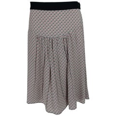 Prada Geometric Print Silk Yoke Waist Skirt  46