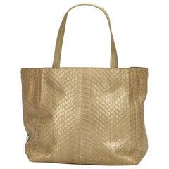 Prada Gold Embossed Leather Tote Bag