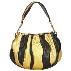 Prada Gold Gathered Leather Shoulder Bag