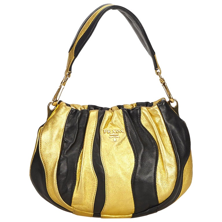 811d98ae3081 Prada Gold Gathered Leather Shoulder Bag at 1stdibs