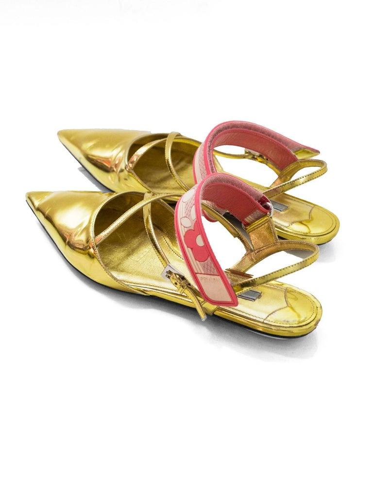 Women's Prada Gold Glazed Leather Flats Sz 38.5 For Sale