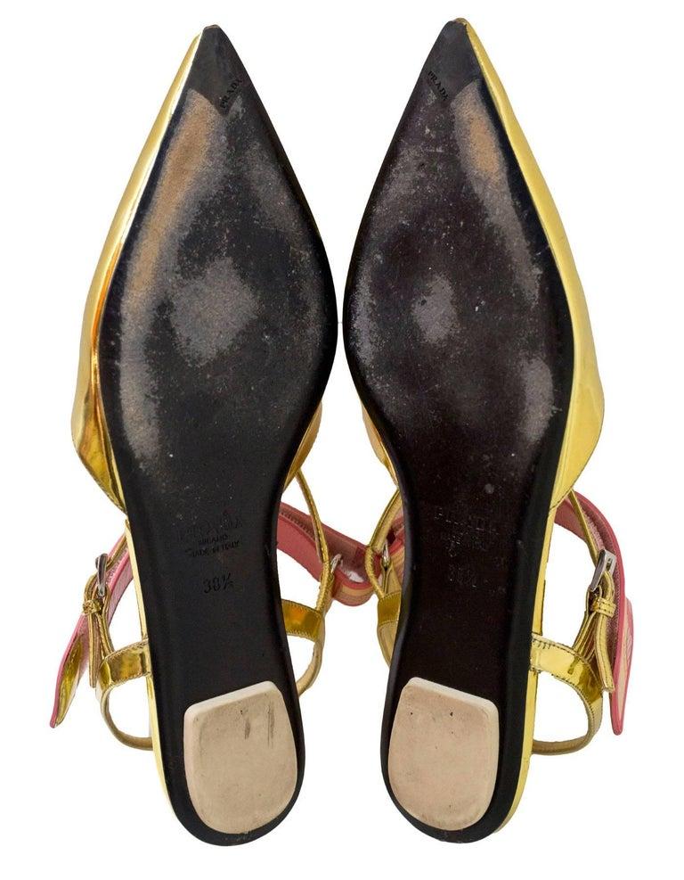 Prada Gold Glazed Leather Flats Sz 38.5 For Sale 1