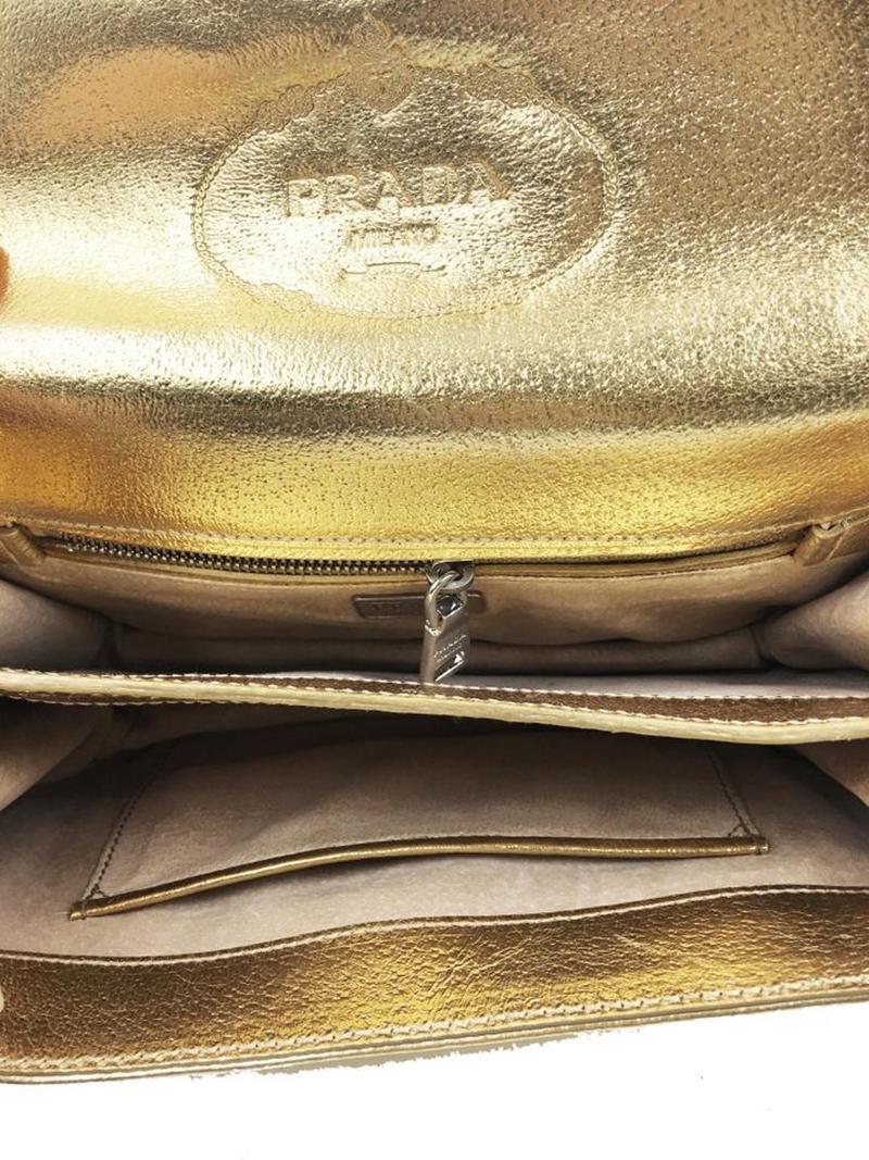 Prada Gold Leather Cross Body Bag For Sale at 1stdibs 9fb1f7f0dad90