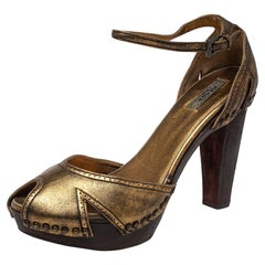 Prada Gold Leather Peep Toe Ankle Strap Platform Sandals Size 38