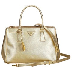 Prada Gold  Leather Saffiano Galleria Satchel Italy w/ Authenticity Card