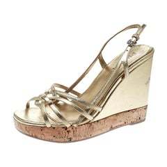 Prada Gold Leather Sligback Platform Wedge Sandals Size 36