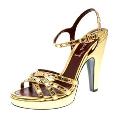 1998cd8272543 Prada Gold Leather Studded Platform Ankle Strap Sandals Size 36