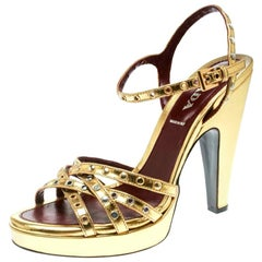 Prada Gold Leather Studded Platform Ankle Strap Sandals Size 36
