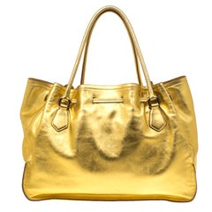 Prada Gold Leather Tassel Drawstring Tote