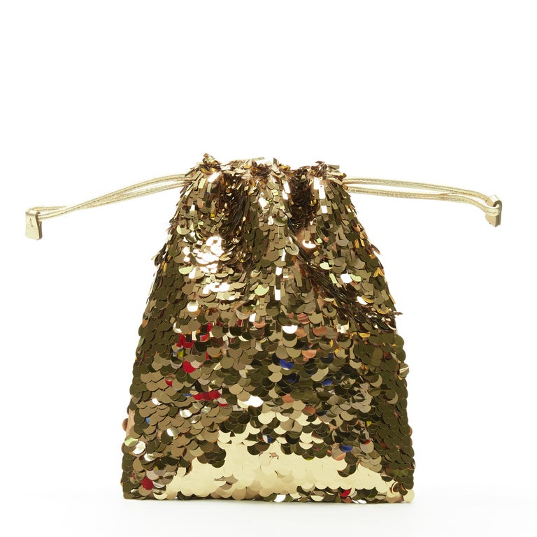 Brown PRADA gold pailette sequins embellished drawstring pouch evening party bag For Sale