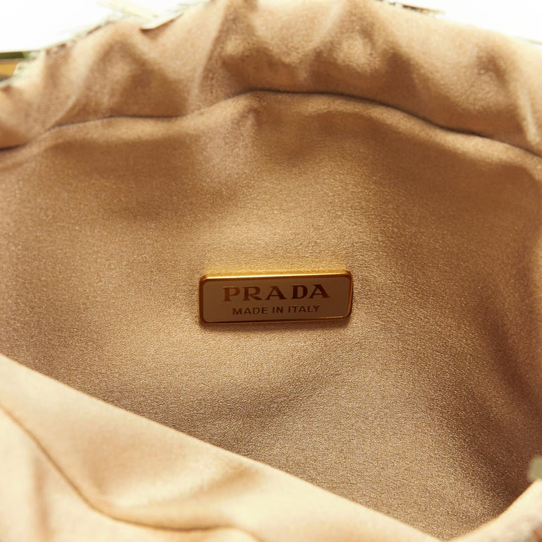 PRADA gold pailette sequins embellished drawstring pouch evening party bag For Sale 2