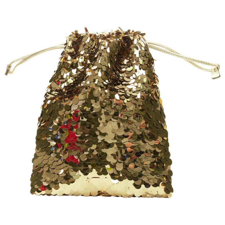 PRADA gold pailette sequins embellished drawstring pouch evening party bag For Sale