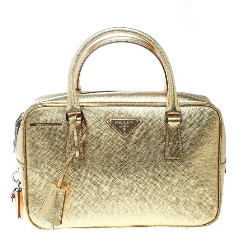 b3568d9fd0525e Prada Gold Saffiano Lux Leather Bauletto Satchel For Sale at 1stdibs