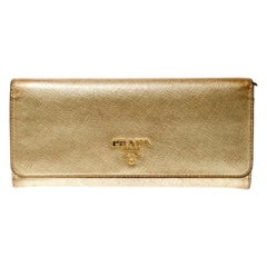 Prada Gold Saffiano Lux Leather Long Flap Wallet