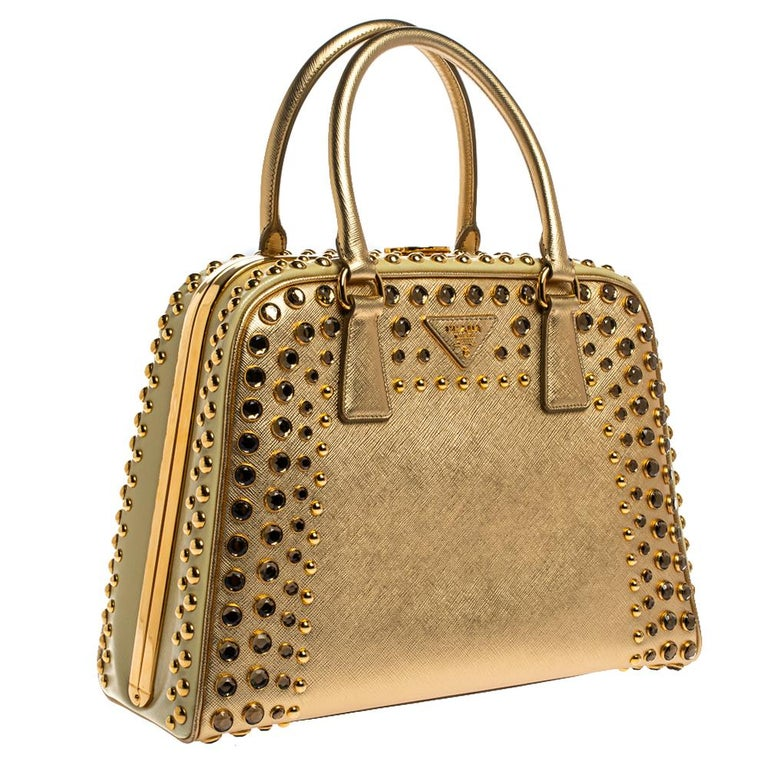 Prada Gold Saffiano Lux Leather Studded Pyramid Frame Satchel In Excellent Condition In Dubai, Al Qouz 2