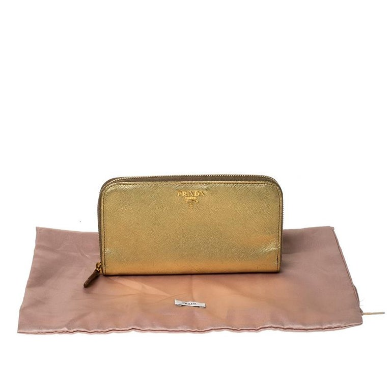 Prada Gold Saffiano Metal Leather Zip Around Wallet For Sale 6