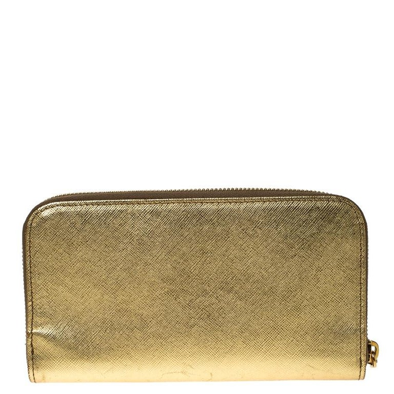 Prada Gold Saffiano Metal Leather Zip Around Wallet For Sale 1