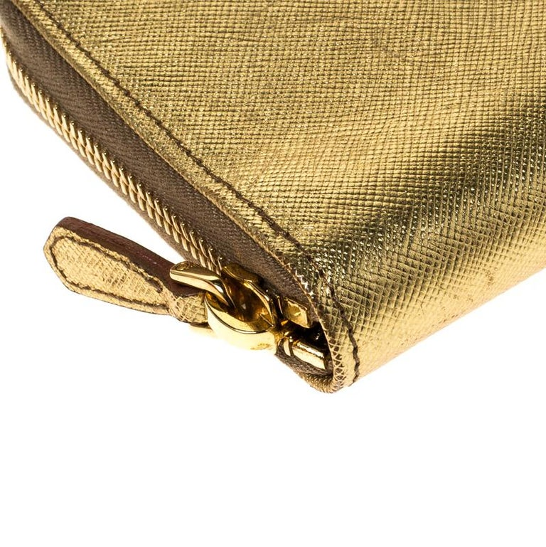 Prada Gold Saffiano Metal Leather Zip Around Wallet For Sale 4