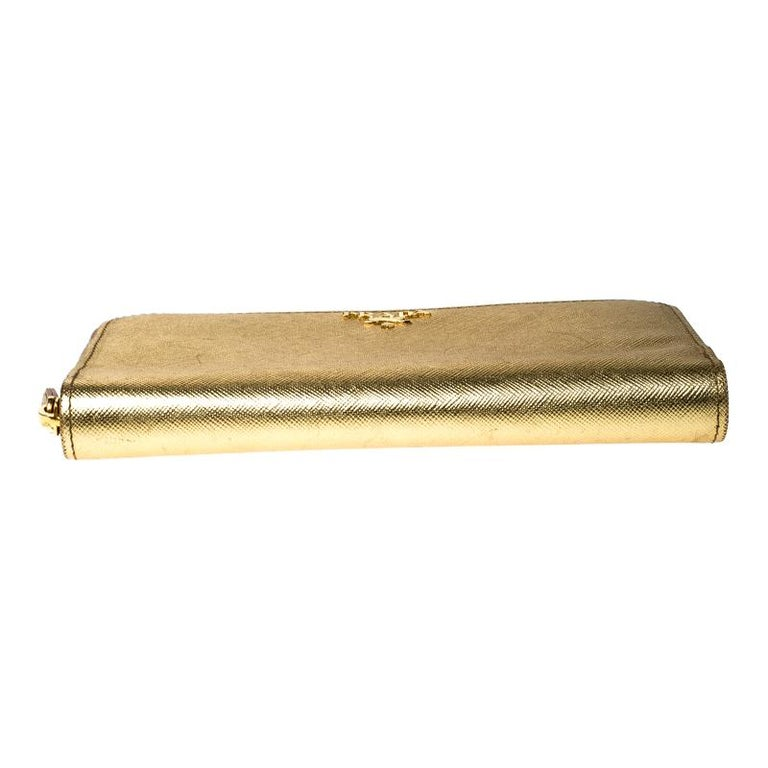 Prada Gold Saffiano Metal Leather Zip Around Wallet For Sale 5