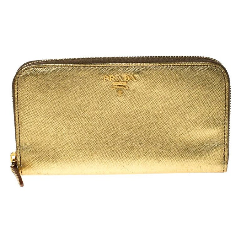 Prada Gold Saffiano Metal Leather Zip Around Wallet For Sale