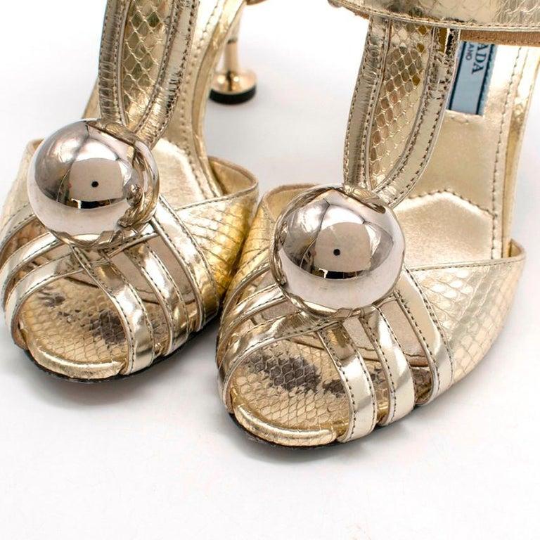 Women's Prada Gold Snake Print Kitten Heel Sandals 35.5 For Sale