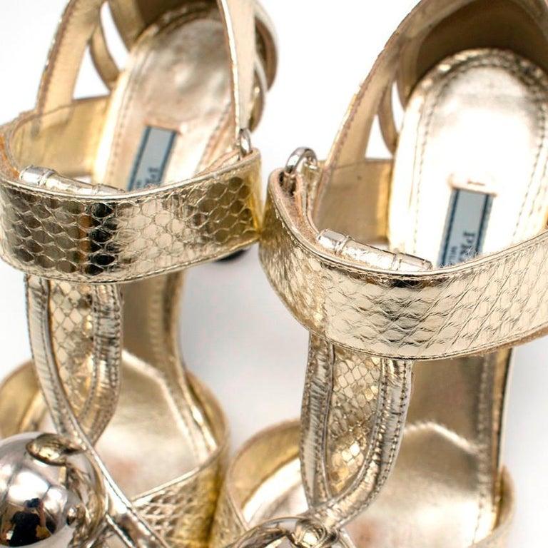 Prada Gold Snake Print Kitten Heel Sandals 35.5 For Sale 1