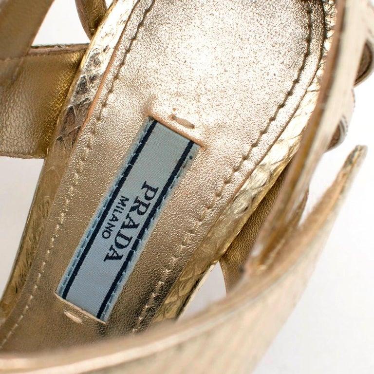 Prada Gold Snake Print Kitten Heel Sandals 35.5 For Sale 2