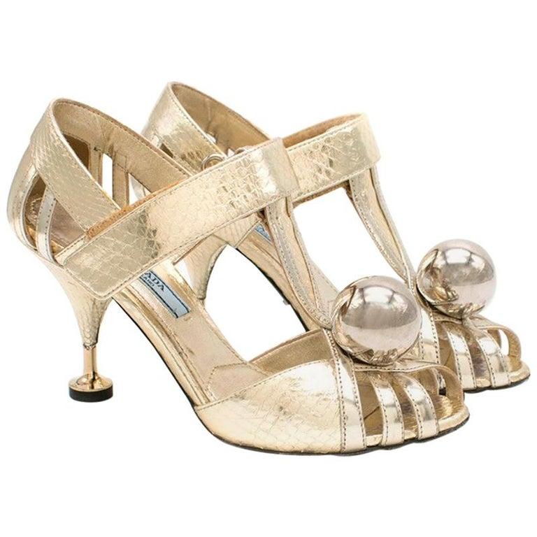 Prada Gold Snake Print Kitten Heel Sandals 35.5 For Sale