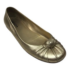 PRADA Gold Soft Leather Ballet Flat - 38