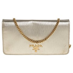 Prada Gold Textured Leather Flap Chain Clutch