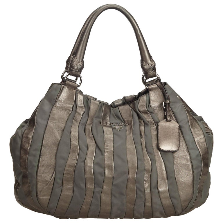0255b3eb680abc Prada Gray Gathered Leather Hobo Bag at 1stdibs