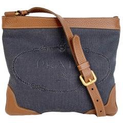 Prada Gray Jacquard Logo Canvas Messenger Shoulder Bag