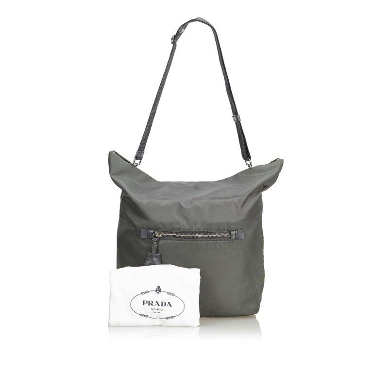 Prada Gray Nylon Satchel For Sale 7
