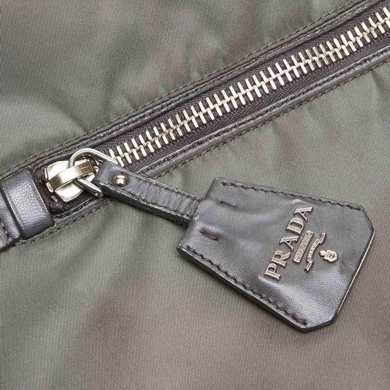 Prada Gray Nylon Satchel For Sale 5