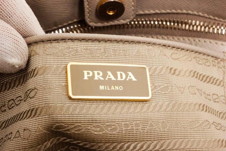 Beige Prada Gray Saffiano Leather Tote Bag For Sale