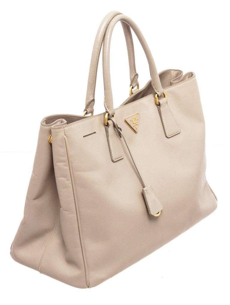 Prada Gray Saffiano Leather Tote Bag For Sale 3