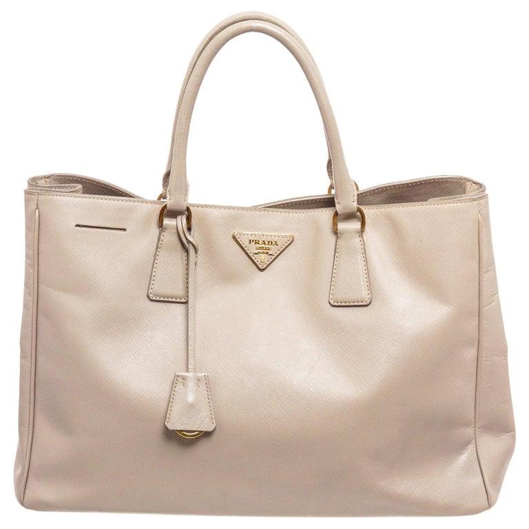 Prada Gray Saffiano Leather Tote Bag For Sale