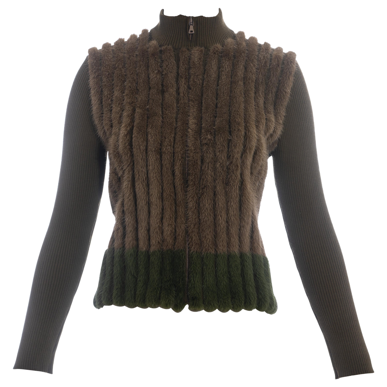 Prada green and brown mink fur and rib knit cardigan, fw 2000