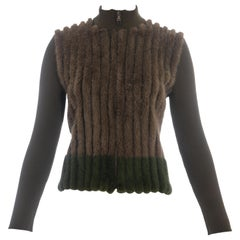 Prada green and brown mink fur and rib knit cardigan, fw 2000