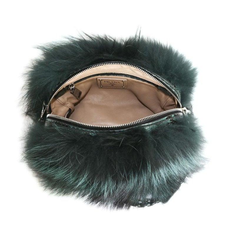 Prada Green Bag In Fox And Lizard For Sale 4