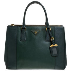 Prada Green Bicolor Saffiano Lux Leather Medium Double Zip Tote