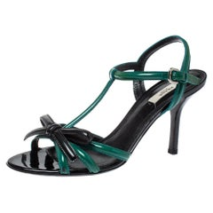 Prada Green/Black Patent Leather Bow Ankle Strap Sandals Size 38