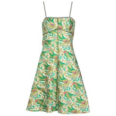 Prada Green Brocade A-Line Sleeveless Dress Spring 2003
