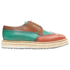 PRADA green brown colorblocked perforated espadrille platform brogue UK5.5