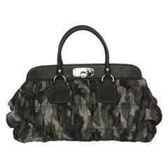 PRADA green CAMOUFLAGE nylon Tote Bag