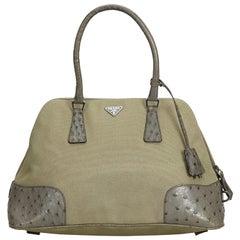 c0604ec39b57 Prada Green Canvas Fabric Ostrich Trimmed Dome Handbag Italy