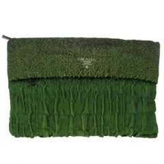 Prada Green Crepe Pleated Clutch