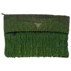 Prada Green Crepe Pleated Fabric Clutch
