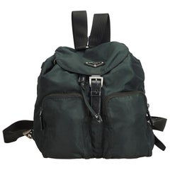 Prada Green Dark Green Nylon Fabric Drawstring Backpack Italy
