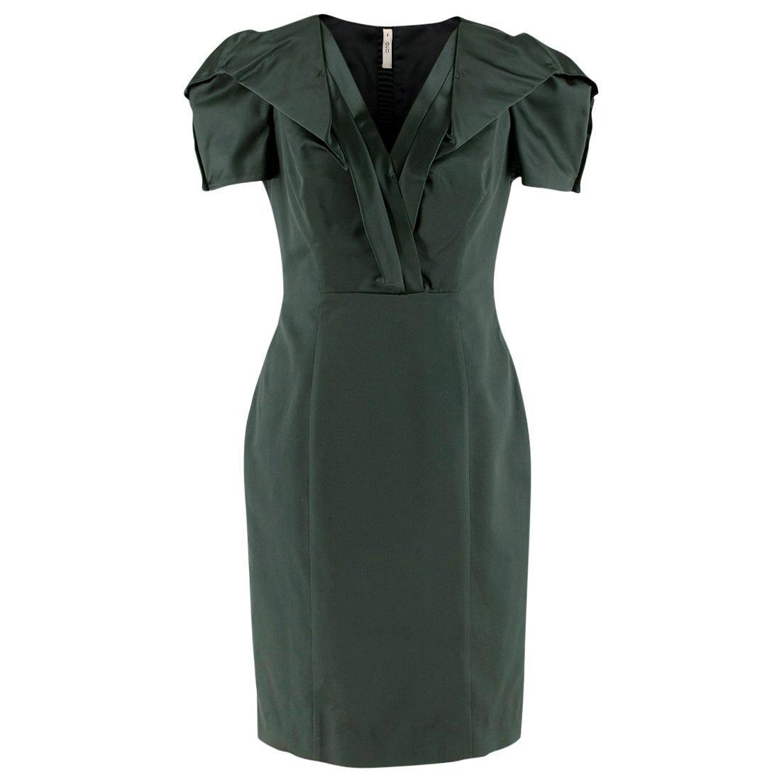 Prada Green Duchess-Satin Dress - Size US 6